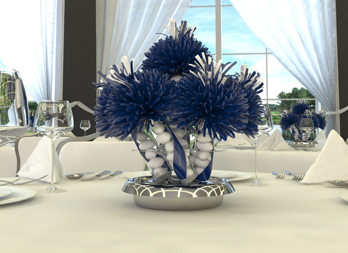 blue centerpieces for weddings