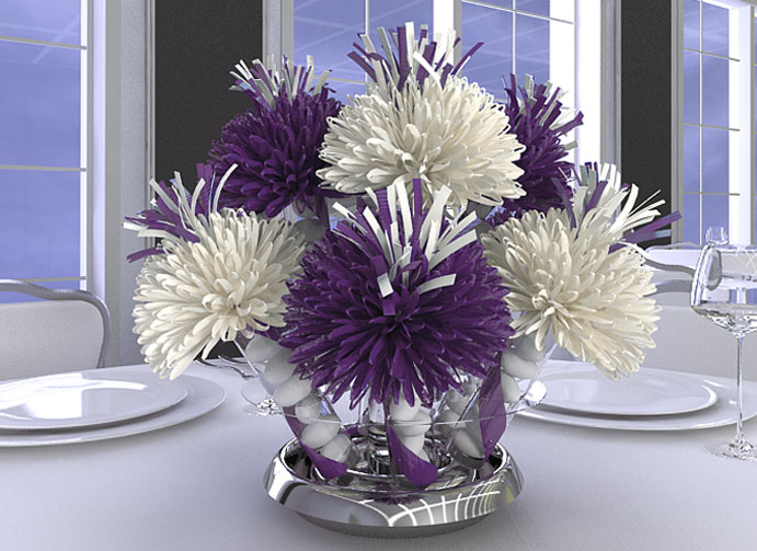 Purple and White Quincea  241 era CenterpiecesQuinceanera Centerpieces Blue