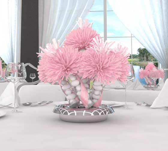Baby shower table decorations party favors ideas - Pink baby shower table decorations ...
