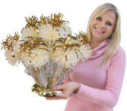 Woman with large bouquet
